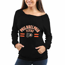 Philadelphia Flyers Junior's Black Vintage Boatneck Sweater