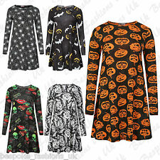 B Ladies Women's Fancy Dress Long Sleeve Halloween Party Themed Swing Dress 8-26