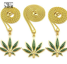 "New Rapper's Marijuana Leaf Pendant & 24"" Box/Rope/Cuban Chain Hip Hop Necklace"