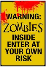 Warning Zombies - Enter at Your Own Risk Sign Poster 33 X 48cm Wall Decor Art
