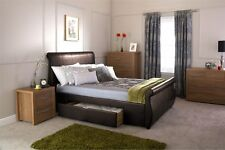 ALABAMA STORAGE BED SLEIGH STYLE FAUX LEATHER BEDSTEAD W/ DRAWERS BROWN 4FT6 5FT