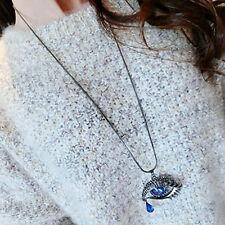 Blue Eyes Angel Tear Pendant Crystal Long Necklace Sweater Chain Suited