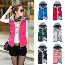 Womens Slim Down Cotton Sleeveless Hooded Vest Waistcoat Winter Warm Jacket Coat