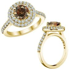 1.25 Ct Champagne Cognac Color Diamond Double Halo Wedding Ring 14K Yellow Gold