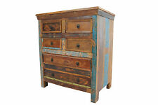 Chest Of Drawers Vintage Reclaimed Solid Teak Wood Bedroom Storage FREE DELIVERY