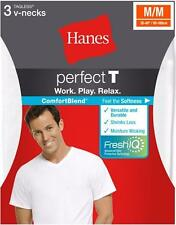 Hanes USA ComfortBlend® Perfect T Low V-Neck Undershirt 3-Pack WHITE T-Shirt