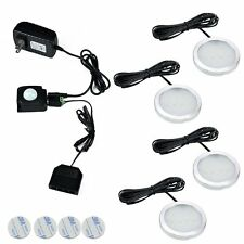 Wireless LED Under Cabinet 4 Lights Kit PIR IR Infrared Induction Detect Sensor