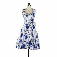 New Gorgeous Women Vintage Retro Style Floral Print Bowknot Evening Party Dress