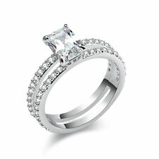 2.2 Ct Radiant CZ 10K White Gold Plated Wedding Engagement Ring Women's Size 6-9
