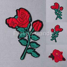 Red Rose Flower Embroidered Applique Iron On Sew Patch DIY Accessories Clothes