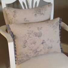 Grey Vintage French Roses On Beige Linen Look Fabric Cushion Cover & Pom Pom