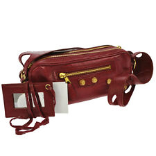 Authentic BALENCIAGA GIANT CHIC Shoulder Bag Red Leather Vintage GHW F01677