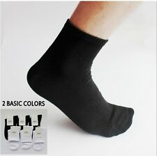 6 Prs Mens Womens Cotton Athletic Sports Tube Rib Knit Ankle Socks SZ 9-11 Balck