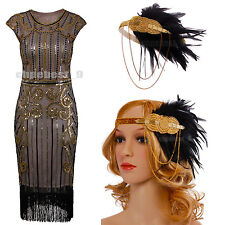 Ladies Charleston 1920s Flapper Fancy Dress Sequin Bead Adult Outfit 20s Costume