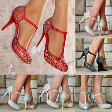 LADIES SPARKLY GLITTER DIAMANTE DETAIL HIGH HEEL T-BAR STRAPPY PARTY SHOES 3-8