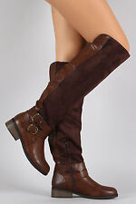 Knee High Tall Riding Boots - Vegan Leather / Suede Double Buckle - Brown