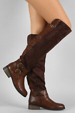 Over Knee Flat Riding Boots Vegan Leather Suede Double Buckle Brown - Size 6.5
