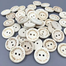 50PCS Beige Wooden Buttons Sewing handmade with love Scrapbooking Crafts 20mm