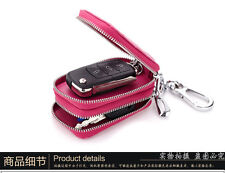 Men Womens Double Key Case Leather Car key Wallets Holder Chain Keyring Coin