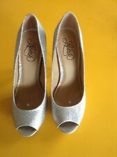 Lipstik Women Glitter Silver Sparkly Peep Toe Shoes High Heels Size 9