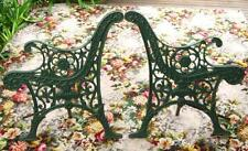 CHARMING SET OF VINTAGE CAST IRON BENCH SEAT ENDS, GORGEOUS FORAL PATTERN