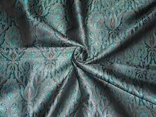 "SILK BROCADE FABRIC BLACK,Blue & Metallic GOLD 44""  BRO282[5]"