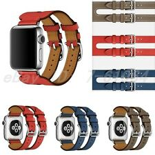 Luxury Leather H Style Double Buckle Cuff Watch Band For Apple Watch 1/series 2