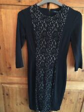 Ladies French Connection Black Lace Dress Size 12 Long Sleeves
