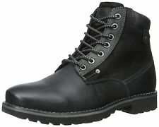 Steve Madden Casual Fashion Leather Canterr Black Mens Shoes Boots Sz 10
