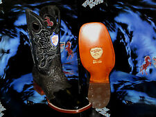 WILD WEST GENUINE OSTRICH LEG SQUARE BLACK RODEO WESTERN COWBOY BOOT 2820505