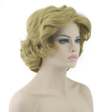 Women's Linen Blonde Wave Curly Short Wig Synthetic Full Lace Wigs 180g/pc W9