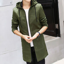 Mens Cotton Long Hooded Slim Fit Jackets Casual Outdoor Zipper Trench Coat M23