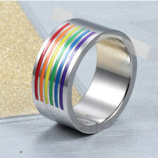 NEW Rainbow Lesbian Gay Pride Ring Stainless Steel Women Men Promise Jewelry