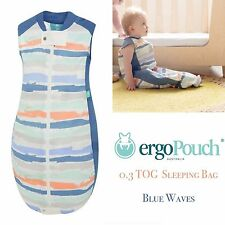 ergoPouch 0.3 TOG Organic Cotton Sheeting Summer Sleeping Bag - Blue Waves