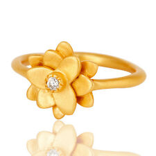 Flower Design CZ Gemstone Ring 18k Gold Plated Handmade Fashion Gift Jewelry