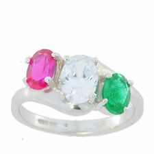 Ruby White Sapphire & Emerald Oval Ring .925 Sterling Silver