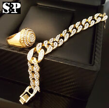 MEN HIP HOP ICED OUT LUXURY STAINLESS STEEL CZ RING & CUBAN BRACELET COMBO SET