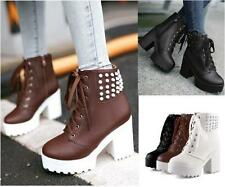Womens lady Chunky High Heel Platform Rivet Studded Motorcycle Gothic Ankle Boot