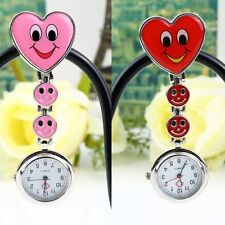 Smile Heart Style Clip-on Nurse Doctor Brooch Pendant Fob Pocket Quartz Watch D#