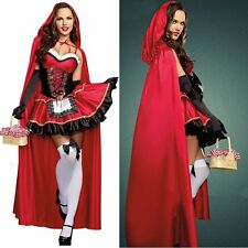 Adult Lady Little Red Riding Hood Fairytale Halloween Fancy Dress Costume Cloak
