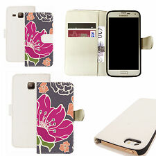 pu leather wallet case for majority Mobile phones - pink poppy white