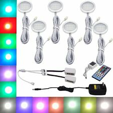 6 RGB+White LED Under Cabinet Lighting Puck Lights with Wireless Remote Control