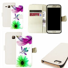 pu leather wallet case for majority Mobile phones - purple feather white