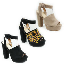 WOMENS LADIES PLATFORM HIGH BLOCK HEEL PEEP TOE CUT OUT SANDALS SHOES SIZE 3-8