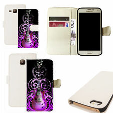 pu leather wallet case for majority Mobile phones - purple guitar white