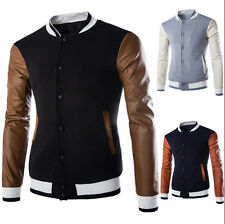 Mens Autumn Zip Leather Sleeve Casual Jacket Stand Collar Basic Short Coat Tops