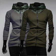 Men's Autumn Winter Hoodies Fleece Coat Long Sleeved Zipper Hooded Casual Jacket