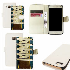 pu leather wallet case for majority Mobile phones - laces white