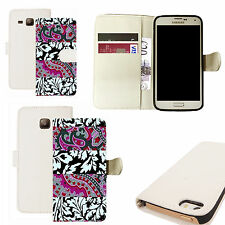 pu leather wallet case for majority Mobile phones - outbloom white