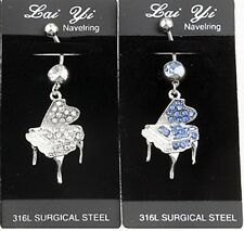 316L Surgical Steel 1 Beautiful CZ Piano Dangle Navel Belly Ring